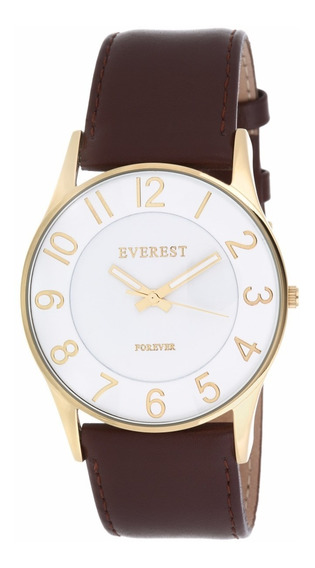 Everest Relógio Masculino Couro Á Prova D´agua C Garantia