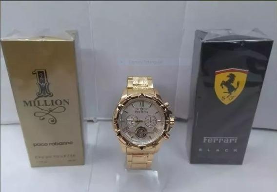 Kit Relógio Masculino Dourado Aço Pesado + 2x Perfume Brinde