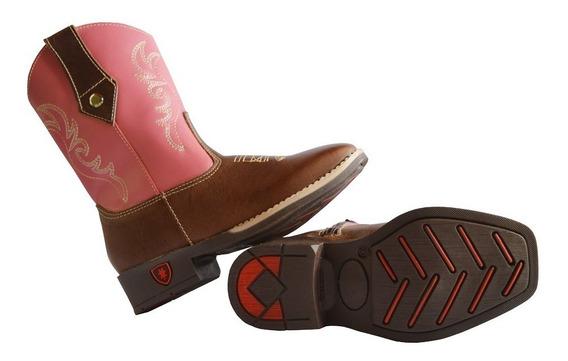 Bota Country Texana Rosa Infantil Feminina Menina 100% Couro