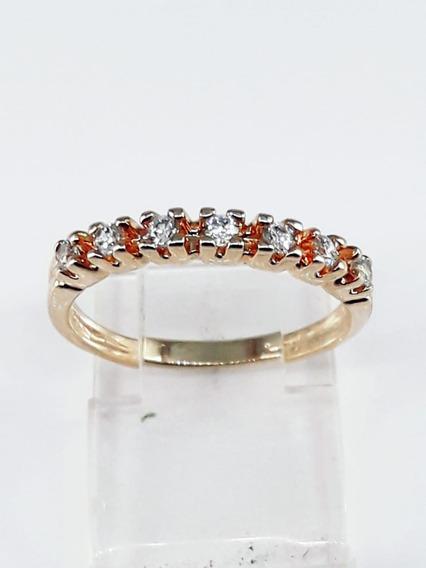 Anel Meia Aliança Semi-jóia Folheada À Ouro 18k