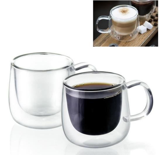 Xícaras Café Chá 100ml Parede Vidro Duplo Resistente 2 Unid