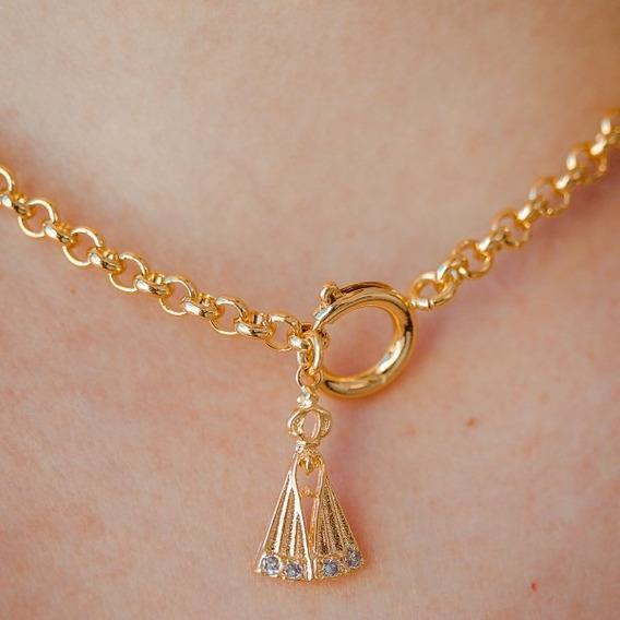 Cordão De Nossa Senhora Aparecida Banho Ouro 18k Feminino