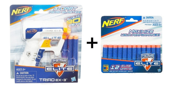 Hasbro Lança Dardo Nerf Elite Triad Ex-3 + Refil 12 Dardos