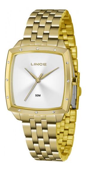 Relógio Lince Feminino Dourado Quadrado Lqg620ls1kx