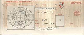 Entrada Partido River Plate Colon De Santa Fe Apertura 1995