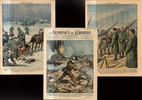 3 Folhas Ilustradas Originais Da Segunda Guerra Mundial