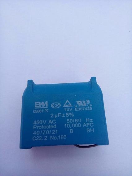 Capacitor Cbb61 2 Uf X 450v Placa Eletronica Ar Split 2 Pçs