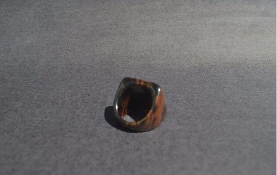 Anel De Pedra Natural Obsidiana Mogno