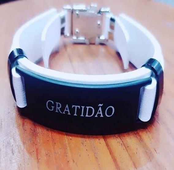 Pulseira Gratidão Masculina Bracelete Pulso Branca