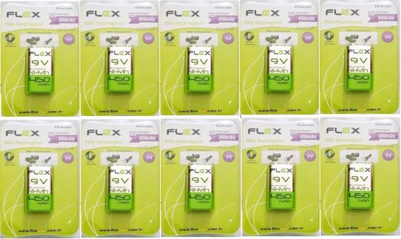 Oferta Bateria 9v Recarregável 450mah 9v Kit 10 Baterias
