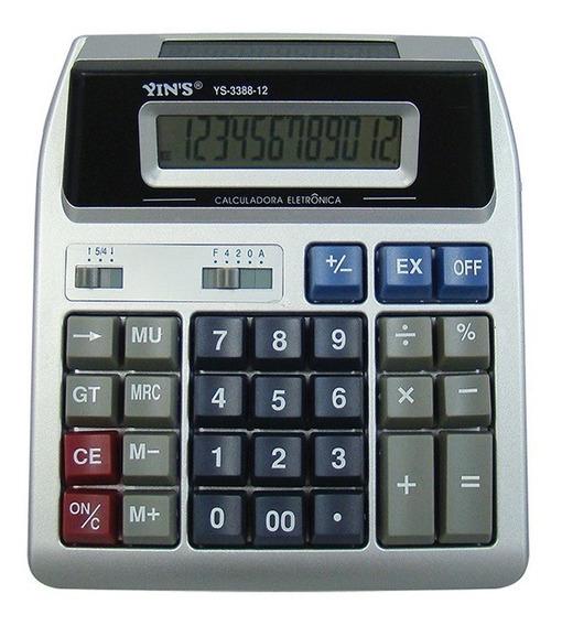 Calculadora Digital De Mesa Com 12 Digitos Visor Duplo