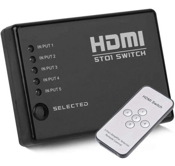 Switch Hdmi 5 Puertos Full Hd 1080p Con Control Remoto ®