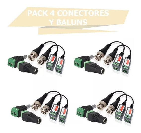 Pack Balun Conector Plug Dc Macho Hembra Utp Cctv Camara