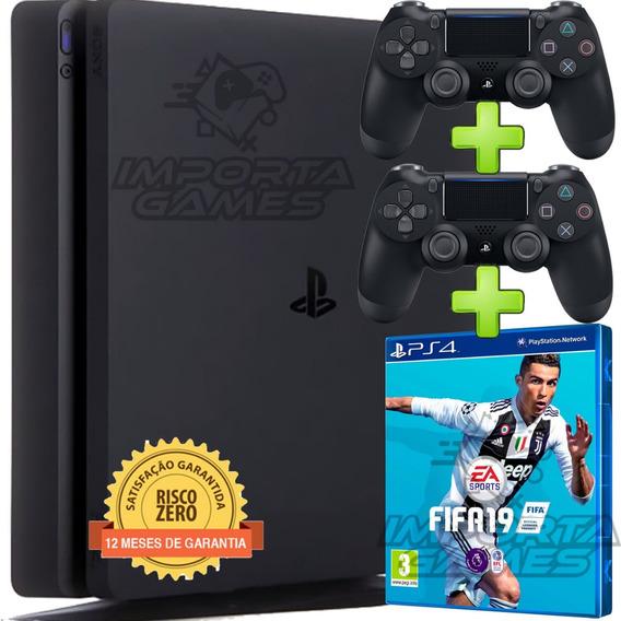 Playstation 4 Ps4 Slim 500gb +fifa 2019 Ptbr + 2 Controles