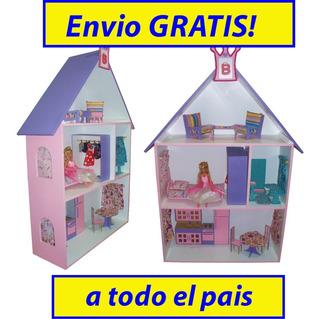 Casita De Muñecas Barbie, Luz + Muebles Juguete Nena Casa Niñas Regalo Jardin