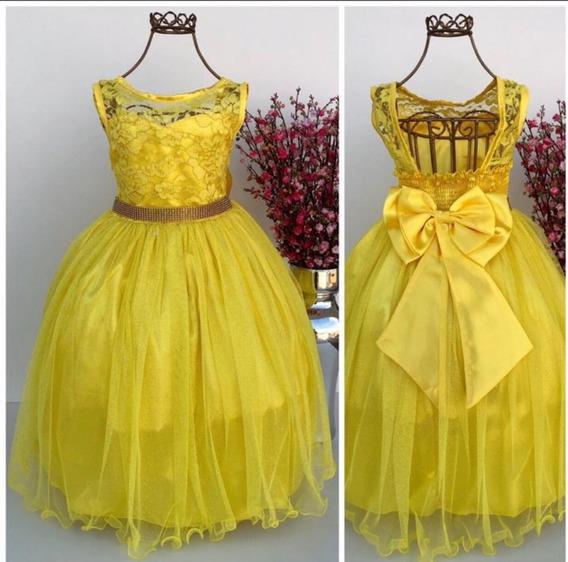 Vestido Infantil Festa Realeza Amarelo Azul Tam 4 6 8 10 12