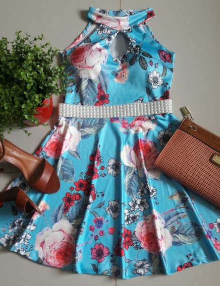Vestido Feminino Curto Princesa Boneca Floral Decote Gota
