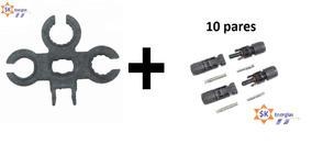 10 Pares De Conector Mc4 Solar Macho E Femea +ferramenta Mc4