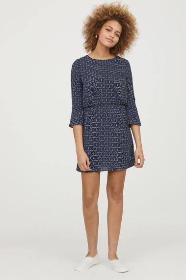 Vestido H&m Azul Oscuro Estampado Talle 40 Eur Importado