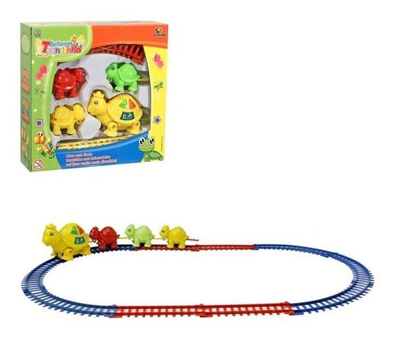 Trem Trenzinho Infantil Com Trilhos 4 Vagoes Ferrorama Kids