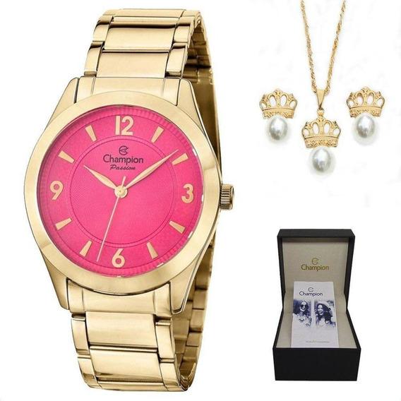 Relógio Champion Feminino Dourado Cn28866s + Colar E Brincos