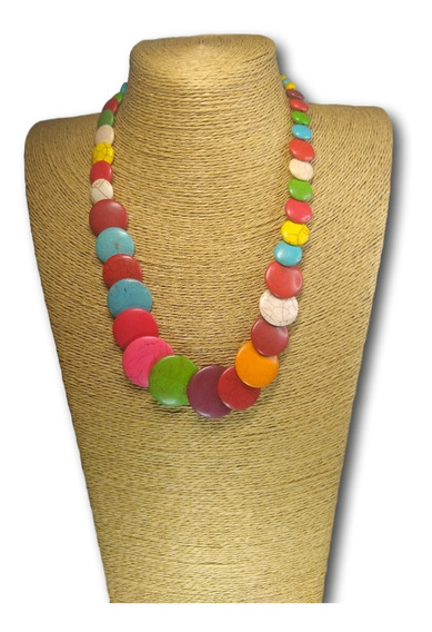 Colar De Pedra Houlita Colorida Ref: 7620