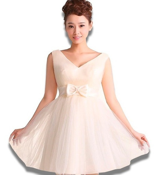 Vestidos Juveniles Mini Formal Moderno Escote Ruedo Moda Dos