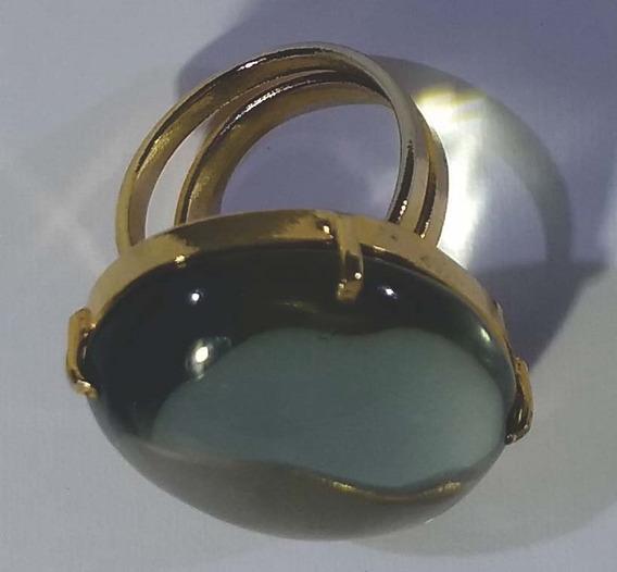 Anel Pedra Natural Metal Dourado Aro Regulável 3 Quart. Fumê