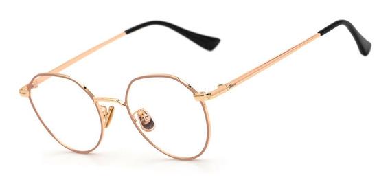 Armação Oculos Ogrife Og 1792-c Feminino Metal Redondo Retrô
