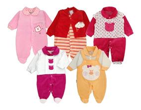 Kit Macacão Bebê Plush Meninas Maternidade Inverno - 5 Peças