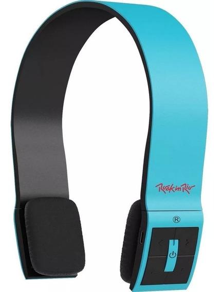 Fone Ouvido Bluetooth Aquariu Headphone Rock In Rio Cor Azul