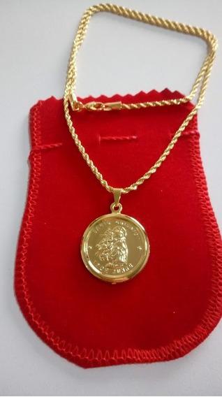 Pingente De Santo Antonio Com Cordão 45cm Banhado A Ouro 18k