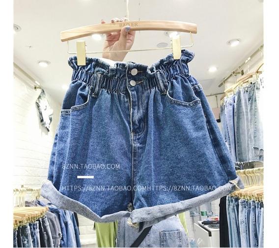 Calção Jeans Cintura Alta C/ Elástico