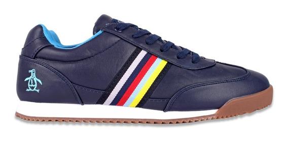 Tenis Original Penguin Para Hombre Azul Marino Tipo Piel