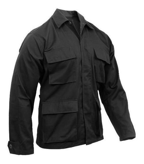 Camisa Militar Tactica Tipo Swat Color Negro Talla Chica - L