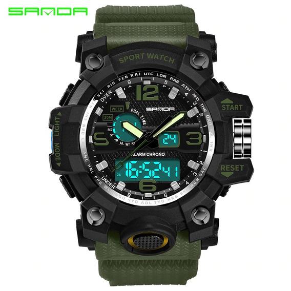 Relógio Sanda 742 Estilo G Militar Sports Duplo Display