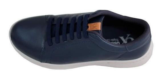 Sapato Tênis Masculino Couro Azul Usaflex Conforto R9801