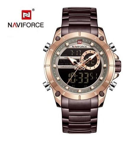 Relógio Masc Naviforce 9163 Marrom Frete Grátis 12xs/juros