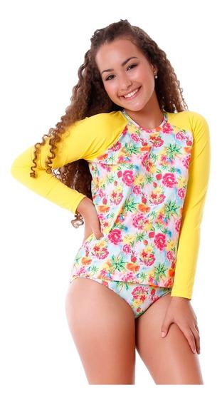 Conjunto Infantil De Blusa E Calcinha Floral Com Proteção Uv