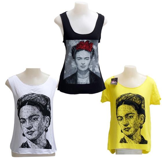 3 Regata Frida Khalo Feminina Tamanho Unico Frete Gratis