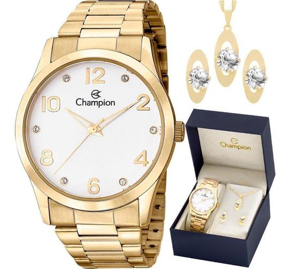 Relógio Champion Dourado + Kit Semi Joia Cn29052w