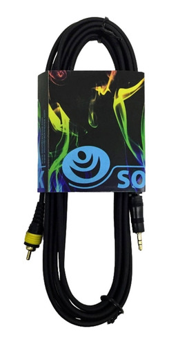 Imagen 1 de 4 de Cable De Audio Auxiliar Plug 3.5 A 2 Rca Estereo 3 Metros