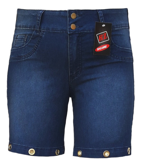 Bermuda Jeans Feminina Com Ilhós Plus Size Tamanhos 44 Ao 60