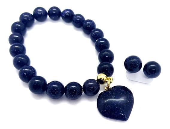 Pulseira C/ Coração + Brinco Delicado De Pedra Das Estrelas