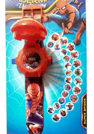 Relógio Digital Infantil H Aranha Imagens 24 Projeta+ Brinde