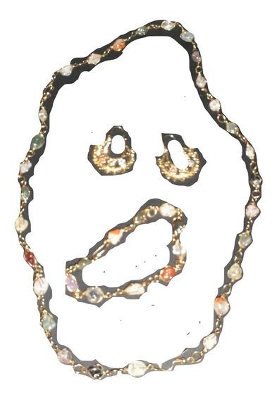 Juego Collar Cristales Brillantes + Aretes + Pulsera, Set Joyeria Fantasía Juvenil Accesorios Moda Mujer $350a
