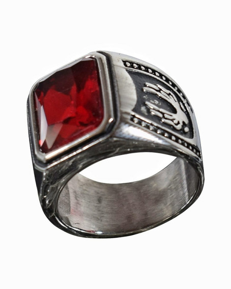Anel Masculino Aço Inox Pedra Vermelha