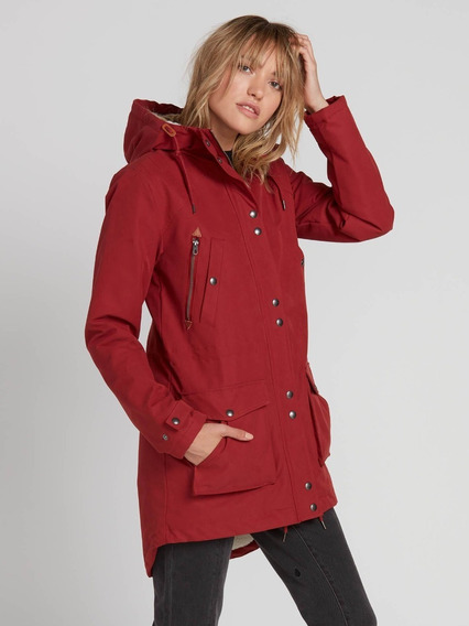 Chamarra Volcom Walk On By 5k Tipo Parka Impermeable Mujer