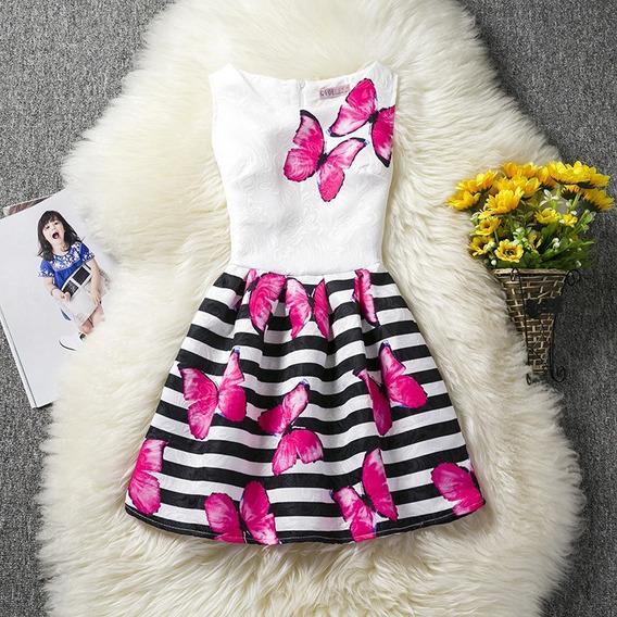 Vestido Niña Primavera Diseño Mariposas Rosas
