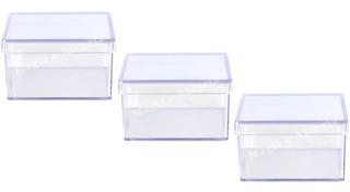 60 Caixinha Acrílico 7x7x4 Cm Cristal Lembrancinhas Top